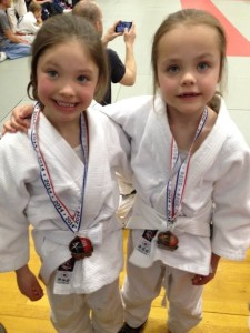 Two girls with medals